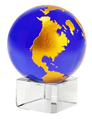 The Paragon 1½ Diameter Blue Crystal Globe Collectible Figurine, Decorative Office Decor Paperweight Globe with ()
