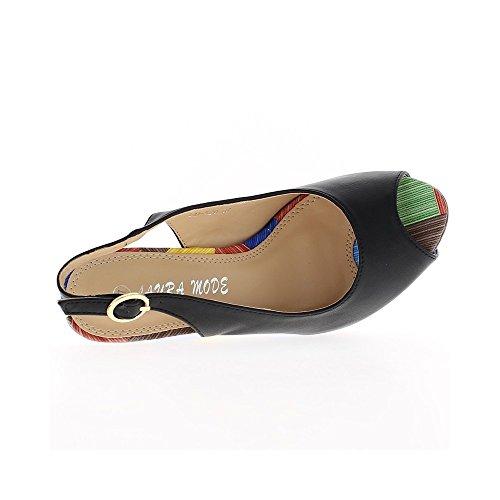 Sandales compensées femme noires aspect cuir brillant talon multicolore 12 cm avec plateforme de 4 cm