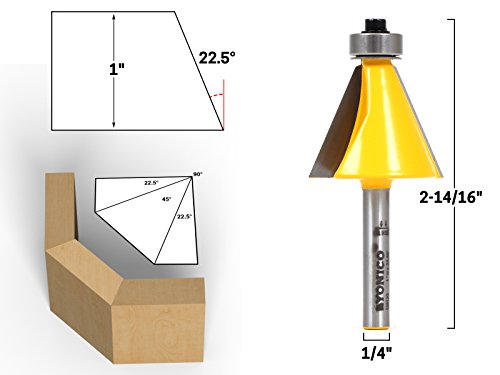 - Yonico 13913q 22.5 Degree Bevel Edge Forming Router Bit 1/4-Inch Shank