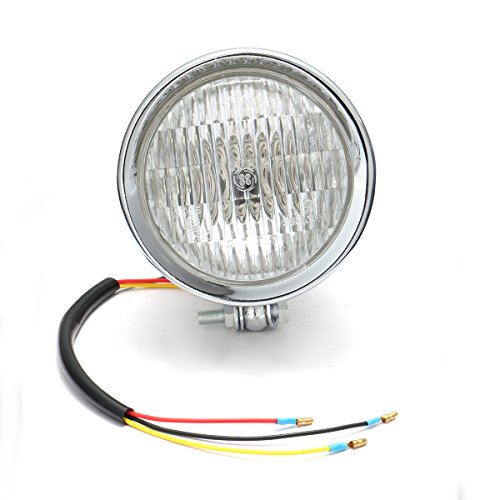 CoCocina 12V H4 55W Motorcycle Headlight Hi/Lo Clear Lens For Harley Bobber Chopper Touring - Silver