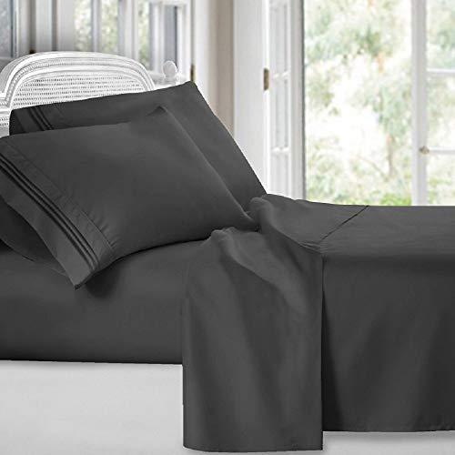 Cozy Home Collection Egyptian Luxury Comfort Deluxe 1800 Count 4 Piece Deep Pocket Bed Sheet Set (Grey, Queen)