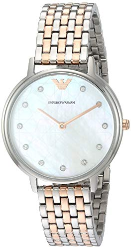 Emporio Armani Women's 'Dress' Quartz Stainless Steel Casual Watch, Color:Rose Gold-Toned (Model: AR80016)