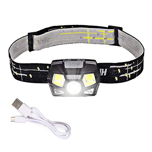 Justech Ultra Bright USB Rechargeable LED Headlamp Waterproof Lightweight Head Torch with 5 Lighting Modes Finger Induction Switch 100LM for Running Fishing Camping Hiking Bicycling