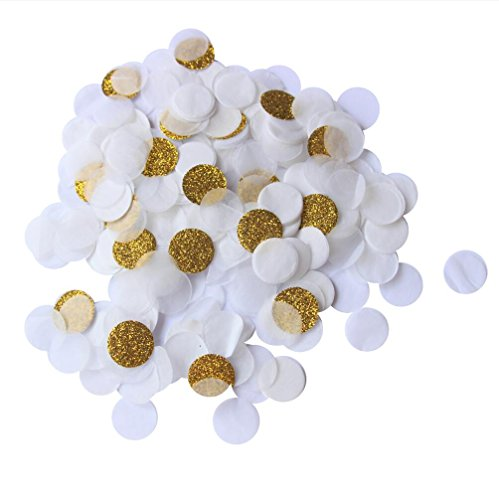Mybbshower White Gold Tissue Paper Confetti for Wedding Table Decoration Pack of 3000