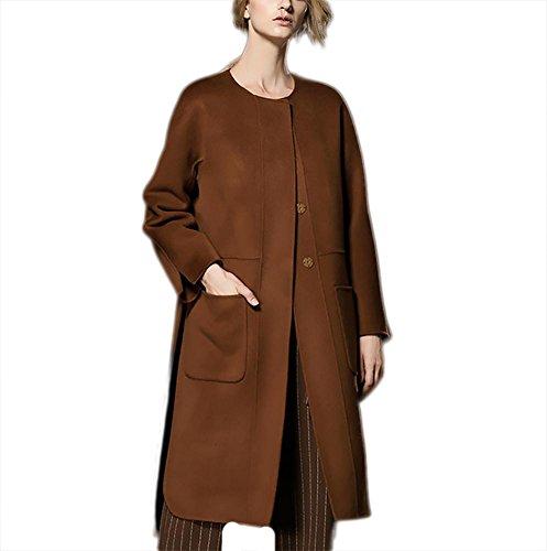 Chaqueta de lana de doble cara de otoño e invierno de las mujeres Abrigo de cachemira Outwear Windbreaker Slim Fit, caramelo caramel
