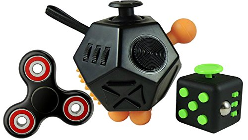 Fidget Toys Set – Helps Adults and Children with Anxiety, Autism, ADHD, Stress Relief & Concentration- Includes Fidget Cube, 12 Sided Cube, and Fidget Spinner