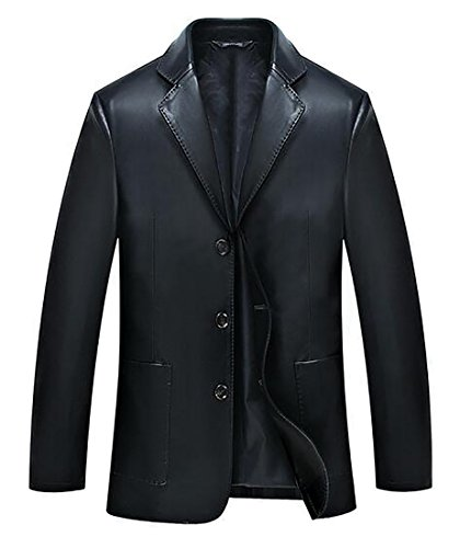 Black Leather Blazer Mens - 3