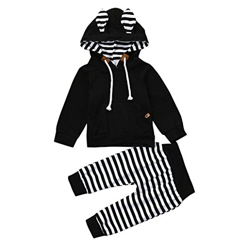 2Pcs Newborn Baby Boys Striped Hooded Long Sleeve T Shirt Tops+Pants Outfits Clothes Set (Black, 3M(0~3months))