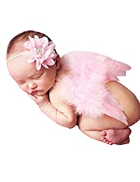 Miss Callory Newborn Photography Props Angel Wing Feather Head Wear for Girl Babies Pink