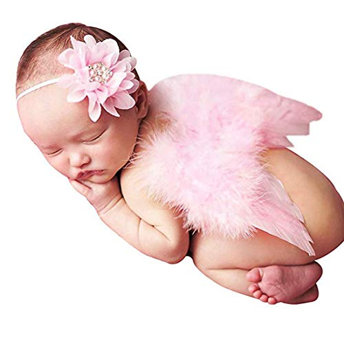 (Newborn Photography Props Angel Wings Feather and Head Wear for Girl Baby Photography Cute Photo Accessory)