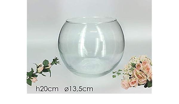 Vilys House Jarrón Cristal Transparente Forma Redonda De 18 Cms Diámetro y 15 Cms de Altura: Amazon.es: Hogar