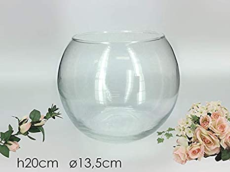 Vilys House Jarrón Cristal Transparente Forma Redonda De 18 Cms Diámetro y 15 Cms de Altura