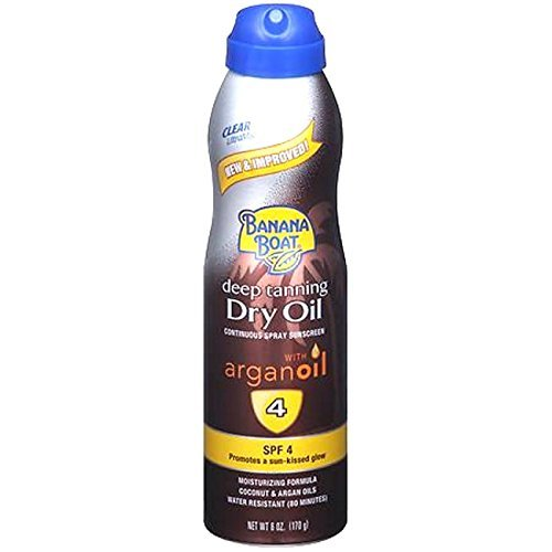 - Banana Boat UltraMist Deep Tanning Dry Oil Continuous Clear Spray SPF 4 Sunscreen, 6 oz