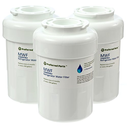 Preferred Parts GE MWF Refrigerator Water Filter   SmartWater Compatible Cartridge (Pack of 3)
