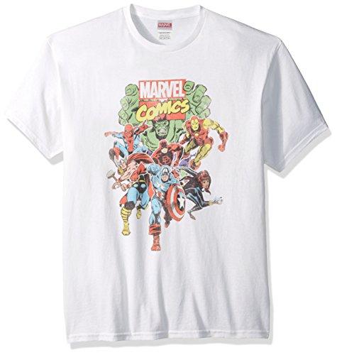 Marvel Men's Comics Vintage Group T-Shirt, White, Medium