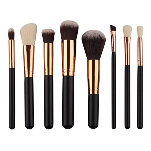 Price comparison product image 8Pcs Mini Cosmetic Eyeshadow Makeup Brush Sets Kits Tools (Black)