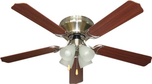 Litex BRC52BNK5L Schuster Collection 52-Inch Ceiling Fan with Five Reversible Ash/Mahogany Blades and Four Light kit with Alabaster Glass
