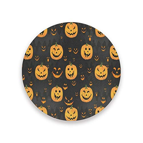 Coasters Halloween Pumpkin Face Round Cup Mat for Drink Cup Pad for Home/Office/Kitchen/Bar Set of 1/2/4 -
