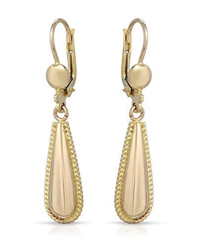 MCS Jewelry 10 Karat Yellow Gold Drop Dangling Earrings (1.6