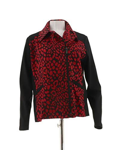 - Susan Graver Printed Ponte Long SLV Moto Jacket Red L New A269284
