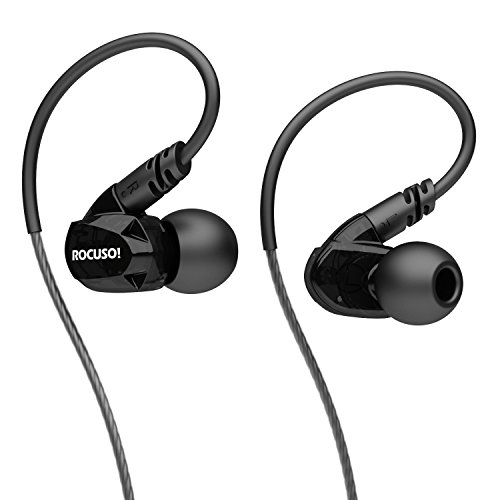 ROCUSO Earbud Headphones with Microphone, Deep Bass and Stereo, Sweatproof Waterproof IPX5 In Ear Sports Earphones for Running/ Gym/ Workout, Universal-Fit, Black