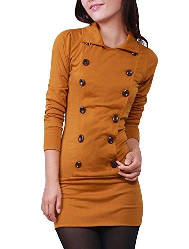 Allegra K Mujer Manga Larga Ajustado Casual Mini camiseta vestido Marrón