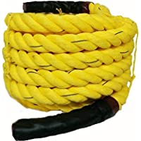 Battle Rope (5Meters - 100Meters) 32mm Thickness Exercise & Fitness Training Equipment Rope (Yellow)