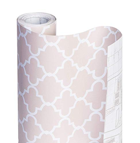 Smart Design Shelf Liner w/Decorative Adhesive - Wipes Clean - Cutable & Removable Material - Easy Peel Design - for Shelves, Drawers, Flat Surfaces - Kitchen (18 Inch x 20 Feet) [Chantilly Blush] (Drawer Liner Paper For Dresser)