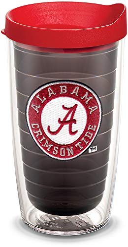 Tervis 1055453 Alabama Crimson Tide Tumbler with Emblem and Red Lid 16oz, Quartz