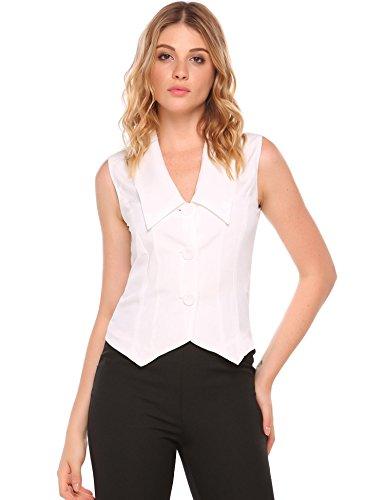 Zeagoo Women Elegant V-Neck Button Down Vest Business Waistcoat Top White XXL by Zeagoo