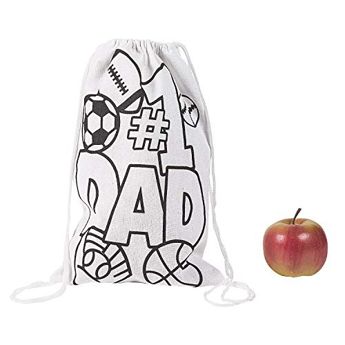 Fun Express - Cyo Father's Day Drawsting Backpack for Father's Day - Craft Kits - CYO - General - Fabric - Father's Day - 12 Pieces