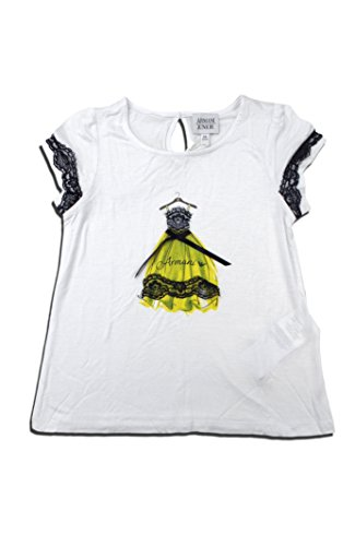 ARMANI JUNIOR Little Girls' Lady Tee with Tulle -4T -WHITE