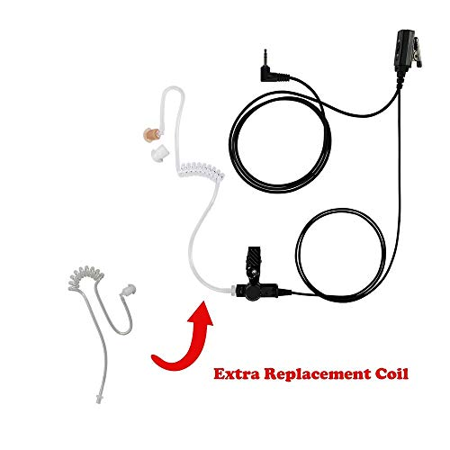 1-Wire Clear Coil Surveillance with Replace Tube Compatible with Motorola T80 Police Style (Motorola Talkabout Ms Series)