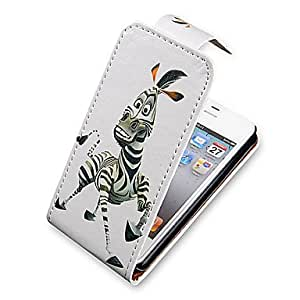 CECT STOCK Cartoon Zebra Up-Down Turn Over PU Leather Case Bady completa para el iPhone 4/4S
