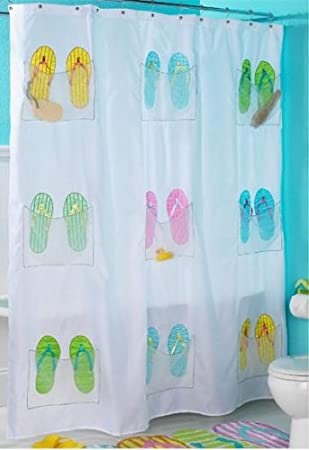 Awesome Embroidered Flip Flop Shower Curtain With 9 Storage Pockets Regard To Flip Flop Shower Curtain