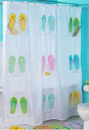 Superb Embroidered Flip Flop Shower Curtain With 9 Storage Pockets