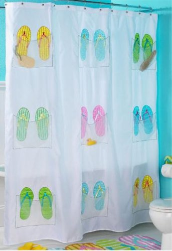 OTC Embroidered Flip Flop Shower Curtain With 9 Storage Pockets