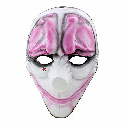 CCOWAY Halloween, Payday 2 Theme Game Horror Cosplay Party Mask For Fencing, Wargame, Costume Play and more(Houston)