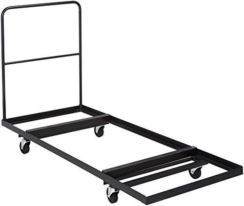 Flash Furniture Black Folding Table Dolly for 30''W x 72''D Rectangular Folding Tables 0.125' Thick Metal