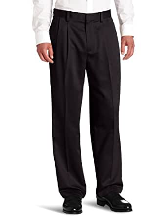 Dockers Men's Never-Iron Essential Khaki D4 Relaxed-Fit Pleated-Cuffed Pant, Black - discontinued, 29W x 32L