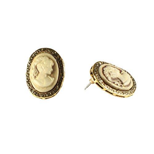 Cameo Gold Tone Earrings - Women Fashion Classic Vintge Retro Cameo Earrings Niello Goldtone Push Back White Plastic Jewelry (Cameo Beige)