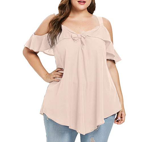 ◕‿◕Watere◕‿◕ Summer Fashion Women Plus Size Cold Shoulder Camis Bow Asymmetric Chiffon Ruffles Tops Tee - Flag Nine Nails T-shirt Inch