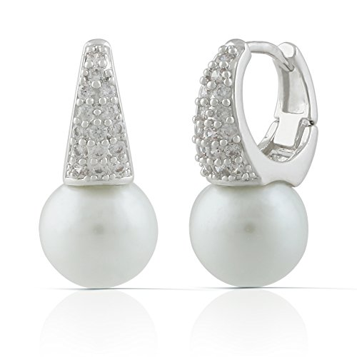 JanKuo Jewelry Rhodium Plated CZ Pave White Simulated Pearl Huggies Earrings