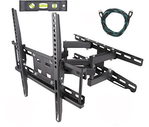 TV Wall Mount Bracket Dual Arm Articulating Swivel LCD LED F