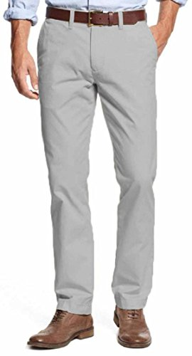 Tommy Hilfiger Mens Tailored Fit Chino Pants (34X30, Drizzle) (Tommy Hilfiger Pants Men Slim)