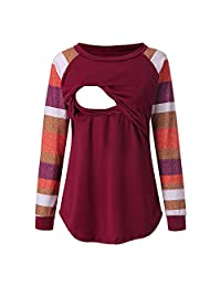 Aritone Maternity Womens Nursing Long Sleeve Striped Top Shirt Round Neck Double Layer Breastfeeding Blouse