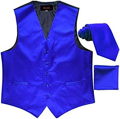 Brand Q 3pc Mens Dress Vest Necktie Pocket Square Set For Suit or Tuxedo