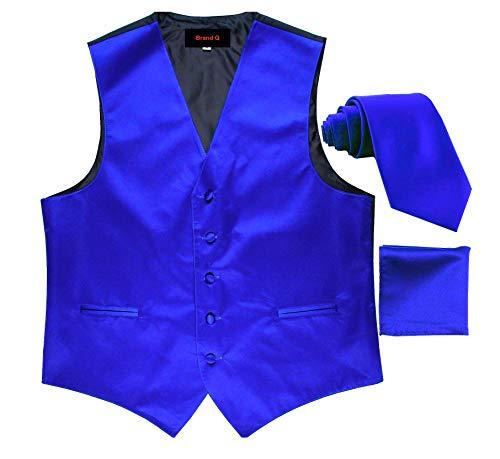 Brand Q 3pc Men's Tuxedo Vest,Neck Tie,Pocket Square Set for Suit or Tuxedo (M, Royal Blue)
