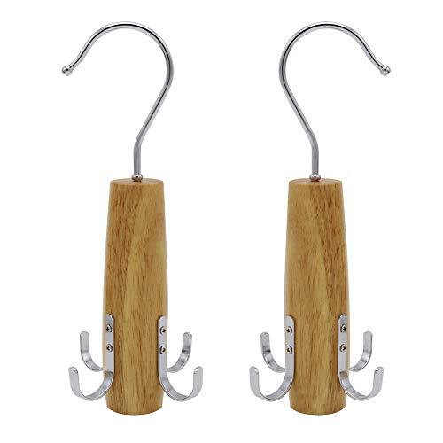Shintop Belt Racks, 2 Pack Swivel Rack Closet Space Saver with 4 Hooks for Hanging Scarfs, Belts, Ties, Jewelry Accessories Organizer(Natural Color) ()