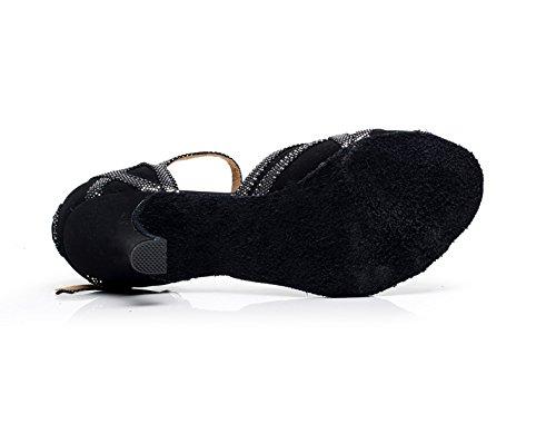 JSHOE Cristaux De Femmes étincelant Satin Latin Salsa Chaussures De Danse Tango/Thé/Samba/Moderne/Jazz Chaussures Sandales Talons Hauts,Black-heeled7.5cm-UK3.5/EU34/Our35